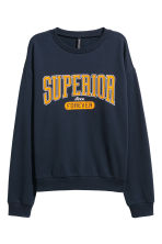 Printed sweatshirt - Dark blue - Ladies | H&M CN 2