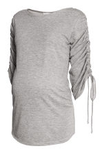 MAMA Top with gathered sleeves - Light grey marl - Ladies | H&M 2