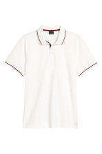 Premium cotton piqué shirt - White - Men | H&M GB 2