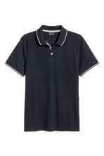 Premium cotton piqué shirt - Dark blue - Men | H&M CN 2