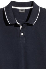 Premium cotton piqué shirt - Dark blue - Men | H&M CN 3