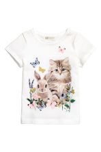 Printed jersey top - White/Animal - Kids | H&M 2