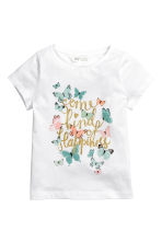 Printed jersey top - White/Butterflies - Kids | H&M CN 2