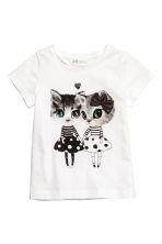 Printed jersey top - White/Cats - Kids | H&M CN 2