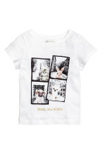 Printed jersey top - White/Animal -  | H&M CN 2