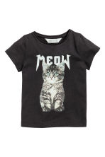 Printed jersey top - Black/Cat -  | H&M 2