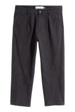 Wide linen-blend trousers - Black - Men | H&M 2