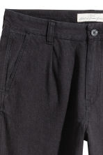 Wide linen-blend trousers - Black - Men | H&M 4