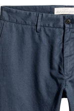 Linen-blend trousers - Dark blue - Men | H&M 4