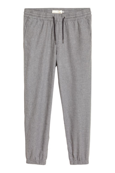 Cotton flannel joggers - Grey marl - Men | H&M CN
