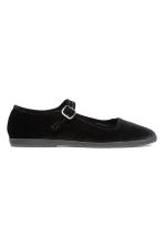 Velvet ballet pumps - Black - Ladies | H&M 1
