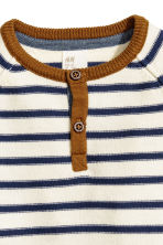 Fine-knit cotton top - Natural white/Striped -  | H&M 2