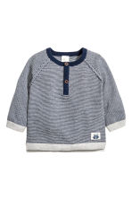 Fine-knit cotton top - Dark blue/White striped - Kids | H&M CN 1