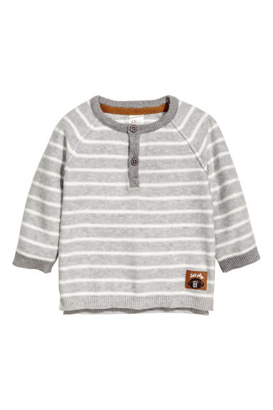 Fine-knit cotton top - Grey/White striped -  | H&M 1