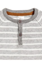 Fine-knit cotton top - Grey/White striped -  | H&M 2