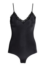 Lightly shaping lace-trim body - Black - Ladies | H&M 2