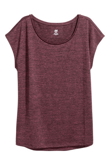 Sports top - Burgundy/Black marl - Ladies | H&M