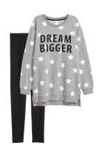 Pyjama top and leggings - Grey marl/Stars - Ladies | H&M 2