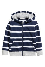 Hooded jacket - Dark blue/Striped -  | H&M 2