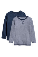 2-pack jersey tops - Dark blue/White - Kids | H&M CN 2