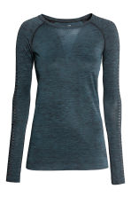 Seamless sports top - Petrol marl - Ladies | H&M 2