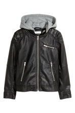 Biker jacket with jersey hood - Black - Kids | H&M 2