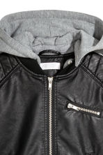 Biker jacket with jersey hood - Black - Kids | H&M 3