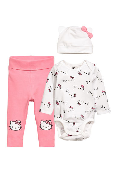 3-piece jersey set - White - Kids | H&M