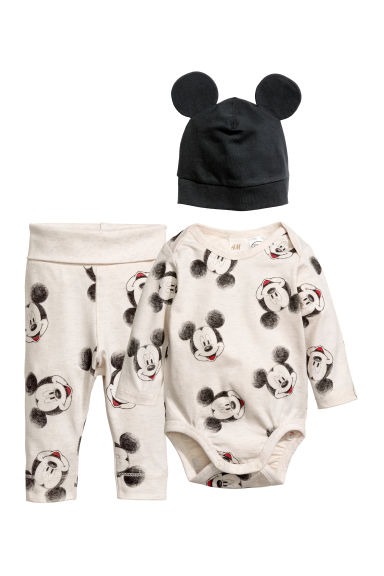3-delige tricot set - Lichtbeige/Mickey Mouse - KINDEREN | H&M BE 1
