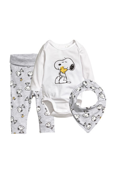 3-piece jersey set - White/Snoopy - Kids | H&M CA
