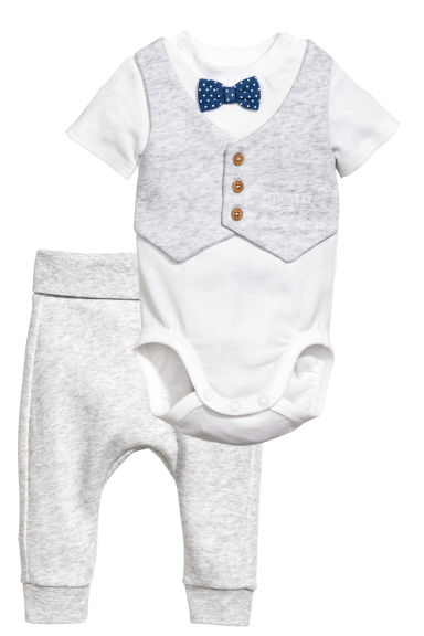 Bodysuit and trousers - Light grey marl - Kids | H&M 1