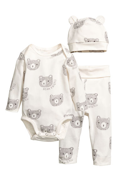 3-piece jersey set - White/Bear - Kids | H&M