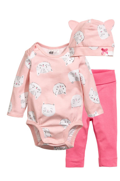 3-piece jersey set - Light pink/Cat - Kids | H&M 1
