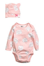 3-piece jersey set - Light pink/Cat - Kids | H&M 3