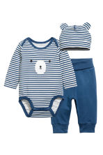 3件式平紋套裝 - Blue/White/Striped -  | H&M 1