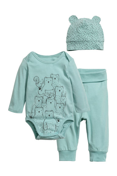 3-piece jersey set - Dusky green/bears -  | H&M CA 1