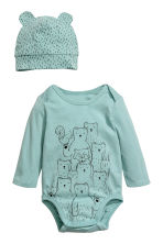 3-piece jersey set - Dusky green/bears -  | H&M CA 2