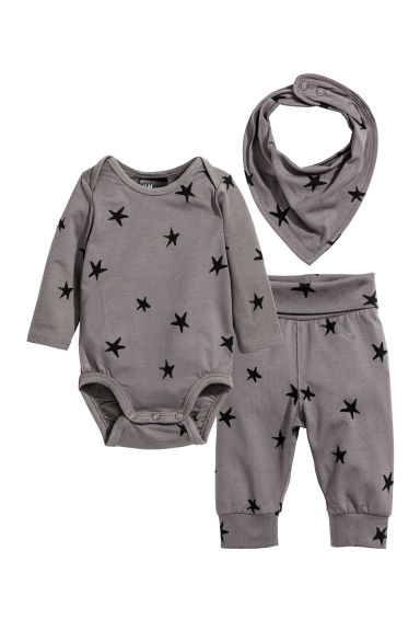 3-piece jersey set - Dusky purple/Stars - Kids | H&M 1