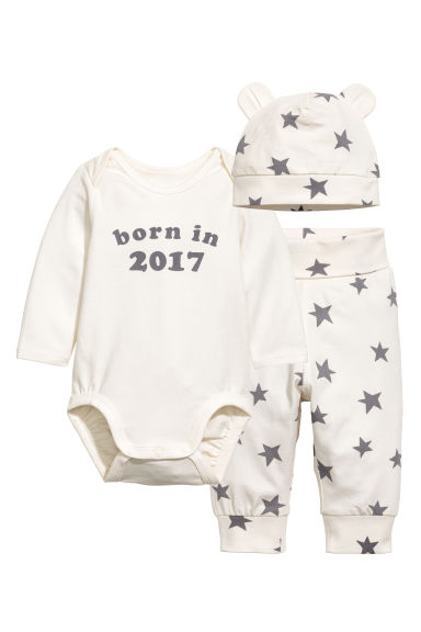 3-piece jersey set - Natural white/Stars - Kids | H&M 1