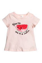 Jersey top - Light pink/Watermelon - Kids | H&M 1