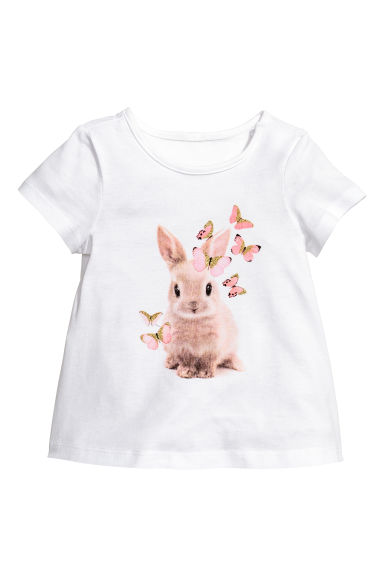 Jersey top - White/Rabbit - Kids | H&M