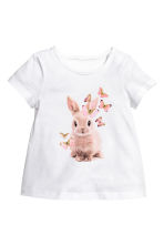 Jersey top - White/Rabbit -  | H&M CA 1
