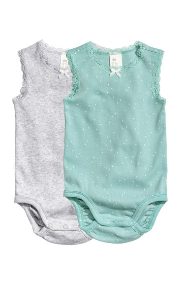 2-pack sleeveless bodysuits - Mint green/Spotted -  | H&M 1