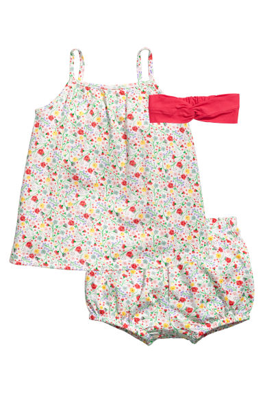 3-piece jersey set - White/Floral - Kids | H&M 1