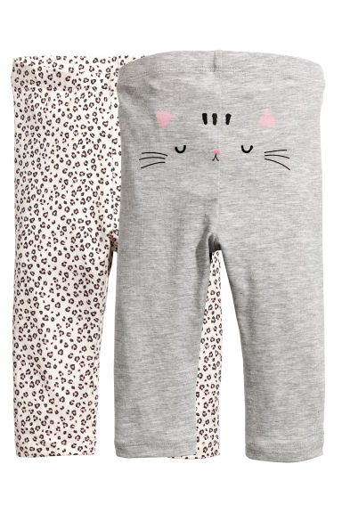 2-pack leggings - Grey/Leopard print - Kids | H&M 1