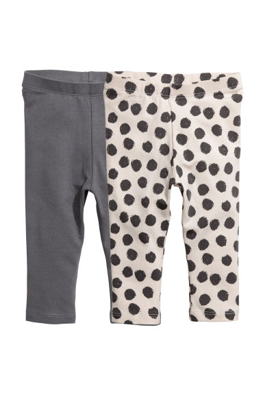 2-pack leggings - Dark gray/dotted - Kids | H&M CA 1