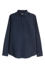 Linen-blend shirt Regular fit - Dark blue - Men | H&M 2