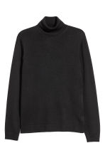 Merino wool polo-neck jumper - Black - Men | H&M 2