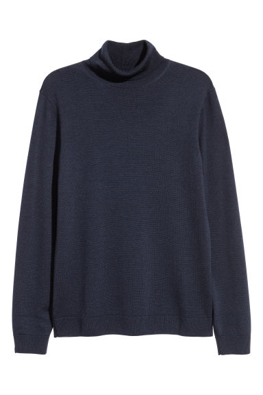 Merino wool polo-neck jumper - Dark blue - Men | H&M