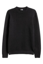 Textured-knit jumper - Black - Men | H&M 2